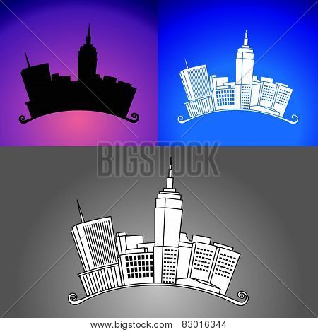 New York City Arched Drawing and Silhouette