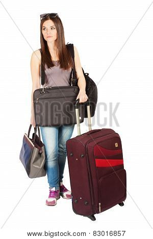Young woman exhausted with her baggage