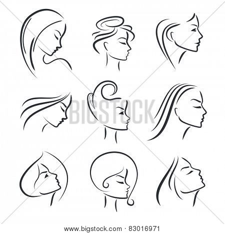 Girls portrait  - vector silhouette icon, monochrome