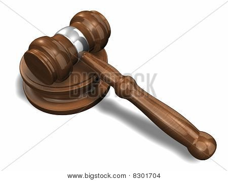 Wooden Auction Hammer 3D Rendered