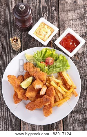 breaded chicken and french fries