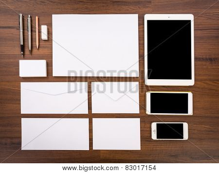 Blank Template. Consist of Business cards, letterhead a4, Tablet PC, eraser ,pen,pencil,envelopes and smart phones