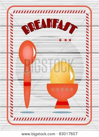 Card - breakfast, egg, spoon with text on white, wooden background