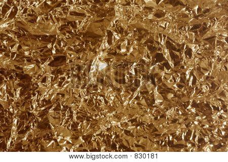 Crumpled bronze metal