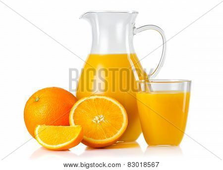 Jug And Glass With Orange Juice And Fruits With Slices Isolated