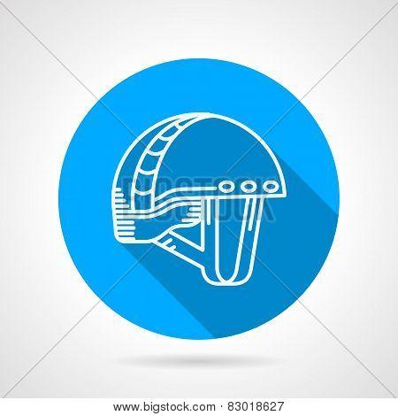Round blue vector icon for sport helmet