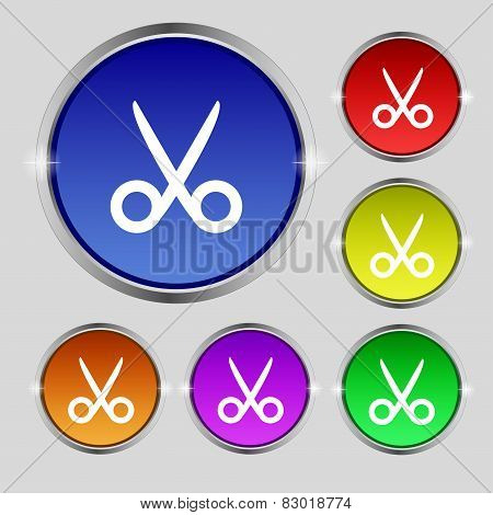 Scissors Hairdresser Sign Icon. Tailor Symbol. Set Of Colored Buttons. Vector