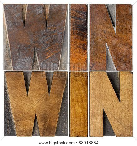 win-win - negotiation or conflict resolution strategy  -  isolated word abstract in vintage letterpress wood type