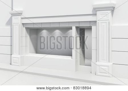 3d store shopfront with big windows