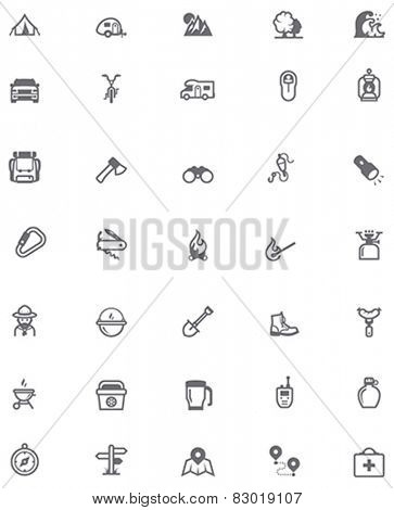 Set of the travel and camping related icons