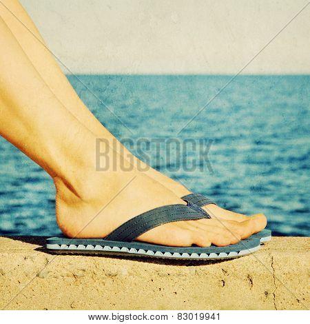 Female Feet In Blue Flip-flops, Retro Image