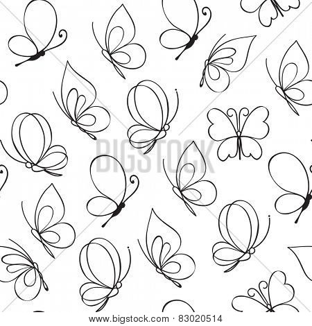 Hand drawn simple butterfly pattern