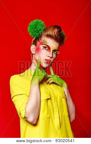 Girl with make-up broccoli