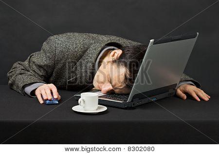 Guy Worked At Night In Internet Has Fallen Asleep