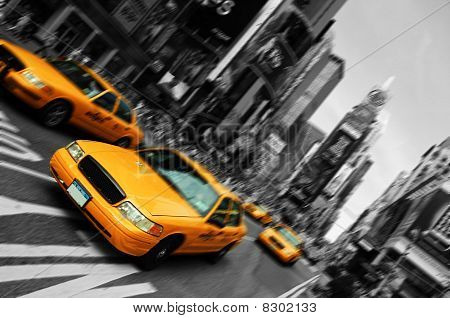 New York City Taxi, Blur Focus Motion, Times Square