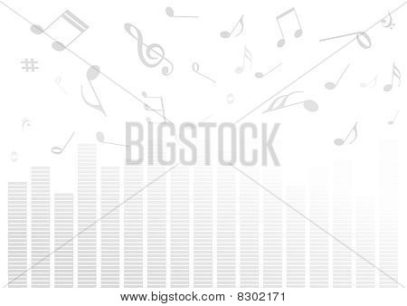 Abstract illustration with volume bars and music notes