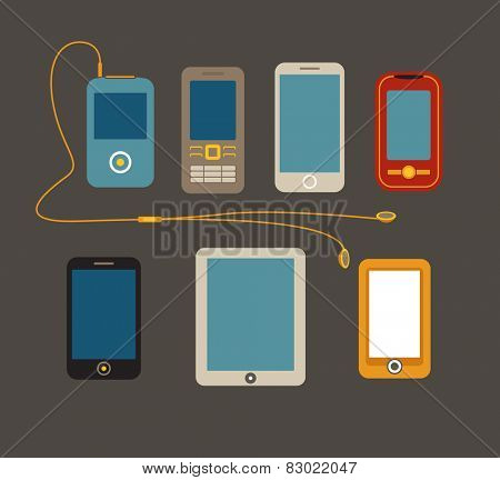 Different mobile gadgets flat design collection. Template for design