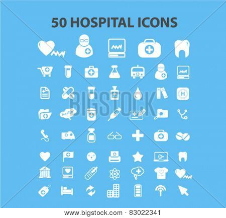 50 hospital, medicine, health care icons, signs, illustrations set, vector