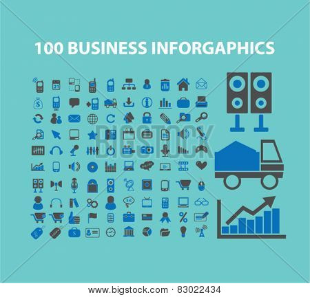 100 business, marketing, retail infographics concept - flat isolated icons, signs, illustrations set, vector