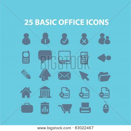 25 basic office, document concept - flat isolated icons, signs, illustrations set, vector