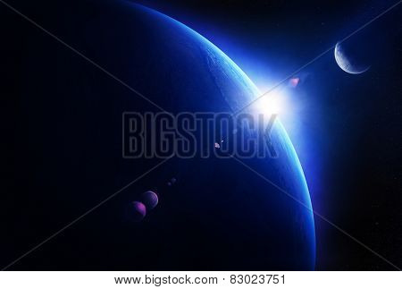Earth sunrise with moon in deep space ( Elements of this 3D render furnished by NASA - Texture maps from http://visibleearth.nasa.gov )