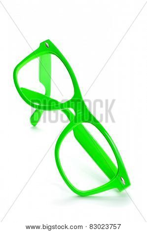 bright green plastic rimmed eyeglasses on a white background