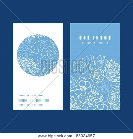 Vector purple lace flowers vertical round frame pattern business cards set
