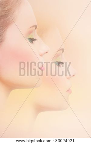 young beautiful woman profile with pastel colors makeup, composite photo