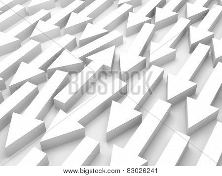 Abstract 3D Illustration, One White Arrow Is Opposite