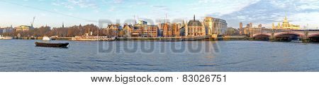Panorama from the Thames and St. Paul's Cathedral in London UK