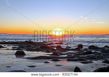 Sunset at Praia Vale Figueiras in Portugal