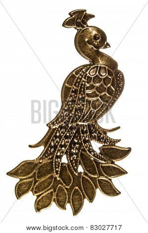 Fantastic Bird, Peacock, Decorative Element, Isolated On White Background