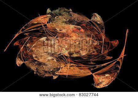 Abstract Orange Fractal Patterns And Shapes That Look Like Oil Painting