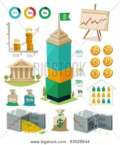 Economics and finance. Infographic elements. Vector illustration.
