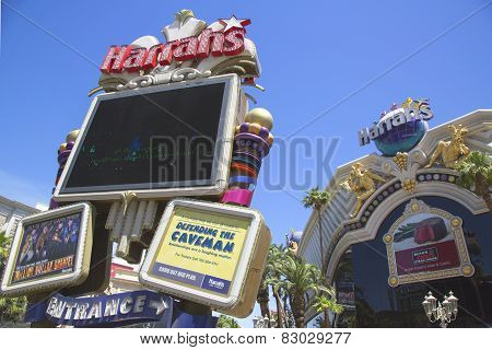 Sign in the front of the Harrah's Las Vegas Hotel and Casino