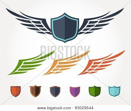 Winged crest flat design