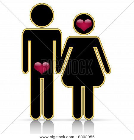 Male-female symbol of love
