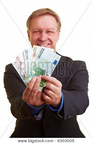 Businessman Offering Instant Credit