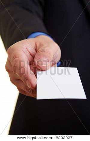 Hand Offering Business Card
