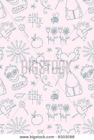 Seamless doodle school pattern
