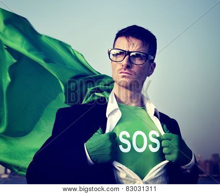 Superhero Businessman Sos Word Concept