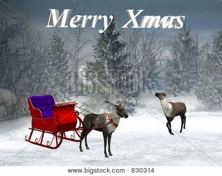 Xmas, reindeer with sledge.