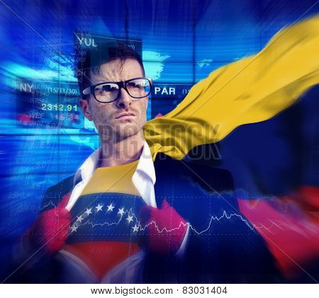 Businessman Superhero Country Venezuela Flag Culture Power Concept