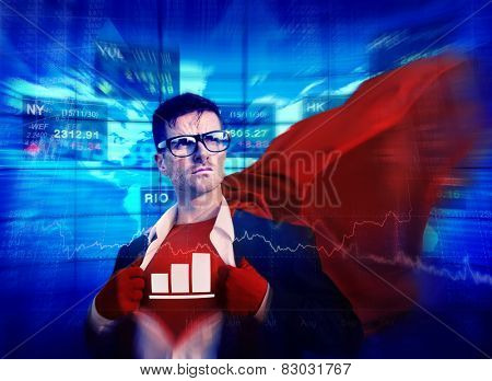 Chart Strong Superhero Success Professional Empowerment Stock Concept