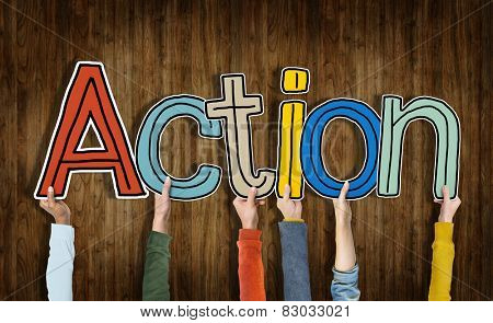 Group of Hands Holding Word Action
