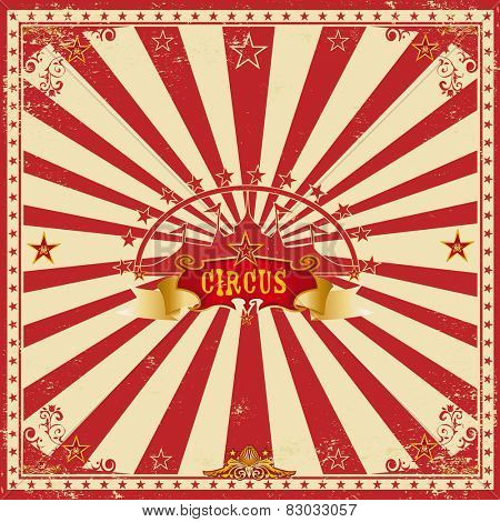 Square circus red card. A wonderful circus card with red sunbeams for your entertainment