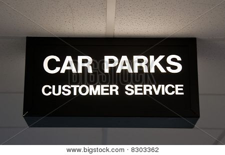 Modern Sign For Car Park And Customer Service