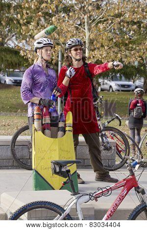 Halloween Bicyclists