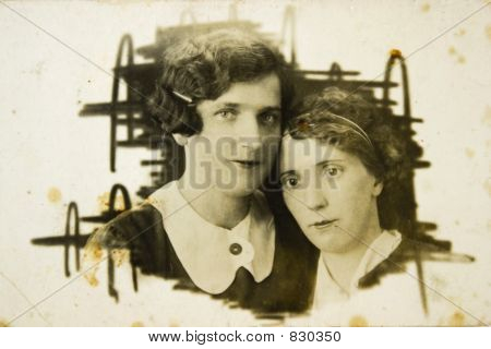 Vintage photo of young ladies