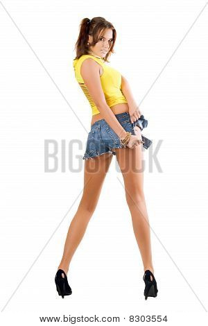 Playful Woman Rending Shorts